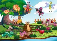 Butterflies and bugs in the garden Stock Photos