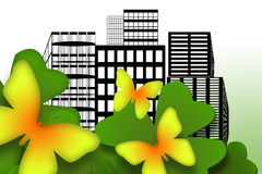 Butterflies In The City. Beautiful yellow butterflies in the urban city decorative ecological illustration Royalty Free Stock Image