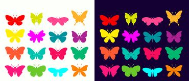 Butterflies collection with different colorful elements. On black/white background, different shapes Stock Photos