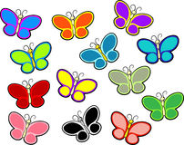 Butterflies of color. Butterflies in different colors, can be used for Valentines day postcard or filling in the background of your design... Children books Royalty Free Stock Photo