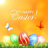 Butterflies and colored Easter eggs in a grass Stock Photography