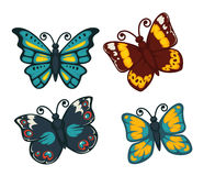 Butterflies colorful flat vector isolated icons set Stock Image