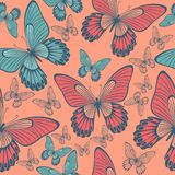 Butterflies in Coral and turqoise green Backround seamless pattern. Repeating pattern for home textile, home decor, fashion or wallpaper stock illustration