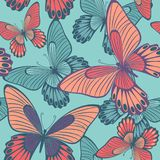 Butterflies in Coral and Turqoisel Green  Backround seamless pattern vector illustration