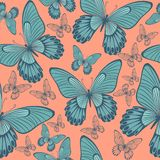 Butterflies in Coral and Turqoisel Green  Backround seamless pattern royalty free illustration
