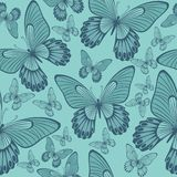Butterflies in Coral and Turqoisel Green  Backround seamless pattern. Butterflies in Coral and turqoise green Backround seamless pattern, repeating pattern for stock photography