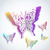 Butterflies cutout of white paper Royalty Free Stock Photos