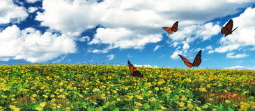 Butterflies. 3d illustration of Butterflies flying and flowers field Royalty Free Stock Photo