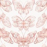 Butterflies with decor pattern. Seamless pattern, background. Graphic in rose gold colors. Royalty Free Stock Images