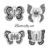 Butterflies decorative icons set Stock Photos