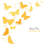 Butterflies design and abstract flowers spring time greeting card vector background Stock Photos