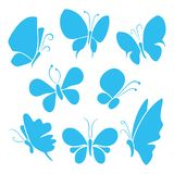 Butterflies with different shapes, isolated butterfly vector set. Various types of butterflies with silhouette style. Illustration of blue butterflies set stock illustration