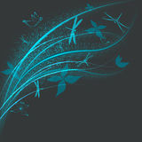 Butterflies and dragonflies. Nature abstract background. Butterflies and dragonflies flying under bright sprouts vector illustration