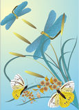 Butterflies and dragonflies. Illustration with butterflies, dragonflies and flowers on light background Royalty Free Stock Images