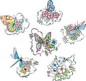 Butterflies and dragonflies on flowers Stock Photos