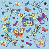 Butterflies, dragonflies and ladybugs. A bright illustration in cartoon style. Hand drawn Stock Images