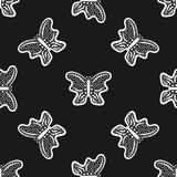 Butterflies drawn by hand. Seamless pattern. Sketch, doodle. Vector illustration Stock Photography