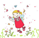 Butterflies fairy. Cute fling fairy with butterflies. Digital colors Royalty Free Stock Images