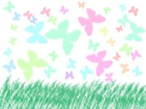 Butterflies at the field. Colored Butterflies at the field illustration Royalty Free Stock Photography