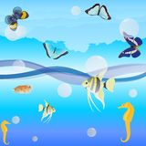 Butterflies and fish. Butterflies are flying over the ocean waves, fish swim in water.Illustration format EPS-10 Royalty Free Stock Photo