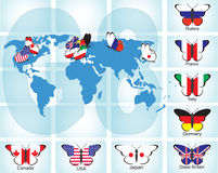Butterflies with flags of countries Royalty Free Stock Image