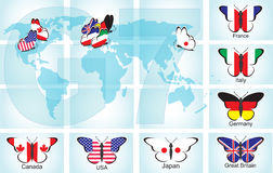 Butterflies with flags of countries Stock Image