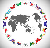 Butterflies with flags of countries Stock Photo
