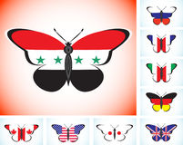 Butterflies with flags of countries group of Eight and Syria Royalty Free Stock Images