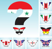Butterflies with flags of countries group of Seven and Syria with question Stock Images