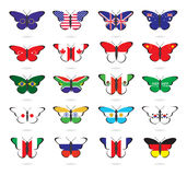 Butterflies with flags of the countries Royalty Free Stock Photography