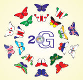 Butterflies with flags of the countries Royalty Free Stock Photos