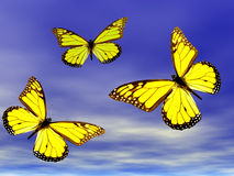 Butterflies In Flight. Three yellow butterflies in flight royalty free illustration