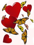 Butterflies floating around hearts Stock Image