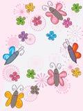 Butterflies Flower Flowers Flying_eps. Illustration of butterflies flower flowers flying card on pink background. --- This .eps file info Version: Illustrator 8 vector illustration