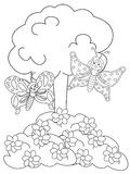 Butterflies in the flower garden coloring page Stock Photo