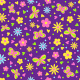 Butterflies,flower and hearts seamless,pattern Royalty Free Stock Photography