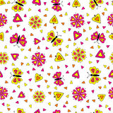 Butterflies,flower and hearts seamless,pattern Stock Photography