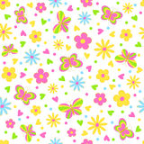 Butterflies,flower and hearts seamless,pattern Stock Image