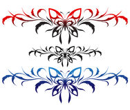 Butterflies with a flower pattern, tattoo Royalty Free Stock Photos