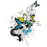 Butterflies and flowers stock illustration