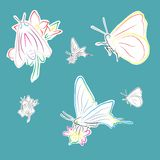 Butterflies on flowers. An a vector illustration of butterflies on flowers . Files included: Illustrator 8 EPS and JPG Royalty Free Illustration