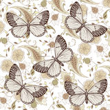 Butterflies. Flowers. Beautiful background. Royalty Free Stock Photos
