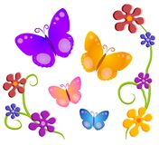 Butterflies Flowers Clip Art 1. A butterfly and flowers illustration in dark colors and tones of red, orange, yellow, pink, blue and purple on an isolated white Royalty Free Stock Photo