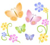 Butterflies Flowers Clip Art 2. A butterfly and flowers illustration in light colors and tones of pink, orange, yellow, blue, green and purple on an isolated Royalty Free Stock Photos