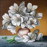 Lilies with butterflies. Flowers in a jug. Painting. Oil on canvas. stock illustration