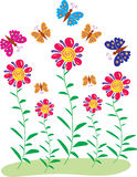 Butterflies and flowers. In a garden are five red and yellow flowers with long stalks and slender green leaves, they are surrounded by a bevy of pink, orange Stock Photography