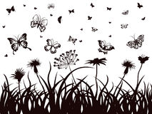 Butterflies, flowers and grass Royalty Free Stock Image