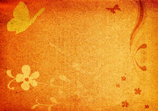Butterflies and flowers on grungy background. Vintage fantasy design Stock Photos