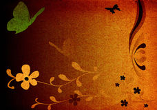 Butterflies and flowers on grungy background. Vintage fantasy design Stock Photography