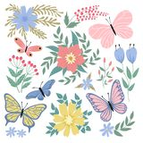 Butterflies and flowers. Hand drawn vector summer and spring collection stock illustration